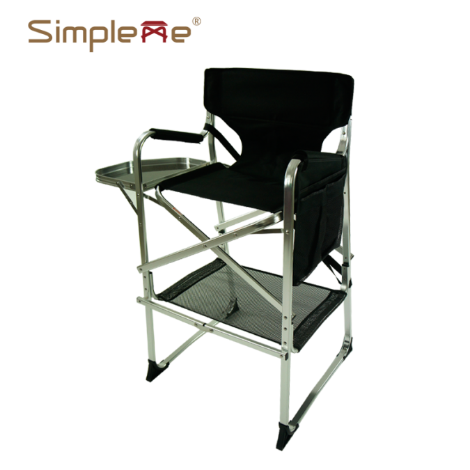 OW-N65TS Silver Aluminum Folding Makeup Director Chair with Side Tray
