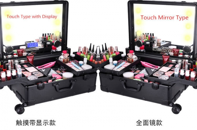 OW-5847 New Fashion Artist Studio Makeup Case LED Touch Mirror Display