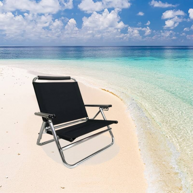 OW-R20 New Aluminum double armrest folding beach chair black